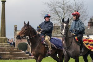 BRIAN HARDING (RIGHT) RIDING ALONGSIDE NICKY RICHARDS AFTER EVERCISE ON WAY BACK TO STABLES. GREYSTOKE CUMBRIA JANUARY 08. Photo © George Selwyn +44 (0)7967 030722 116 Wellington Parade Kent UK CT14 8AF.