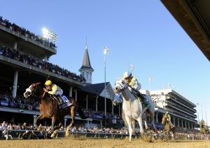 Union Rags (left) goes down fighting by a head to Hansen in the Breeders' Cup Juvenile