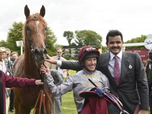 Sheikh Joaan Al Thani and Frankie Dettori  with Galileo Gold, a future stallion prospect