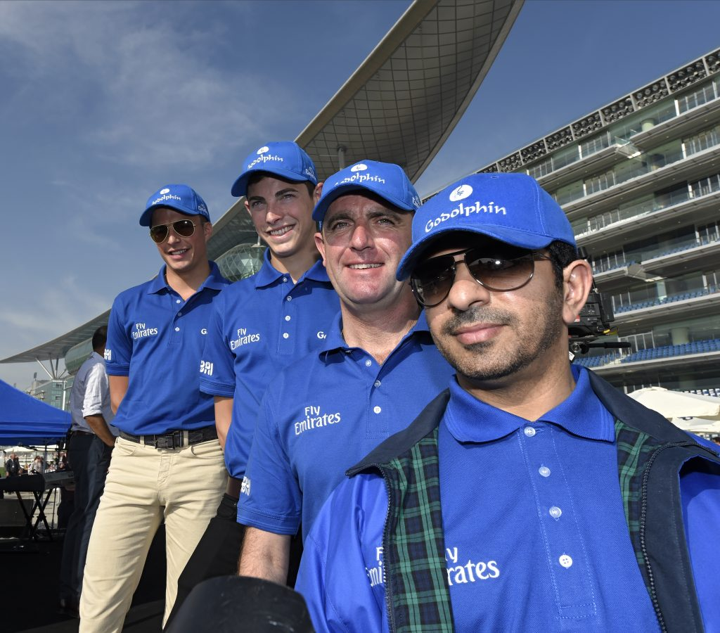Team Godolphin l-r: William Buick, James Doyle, Charlie Appleby and Saeed Bin Suroor