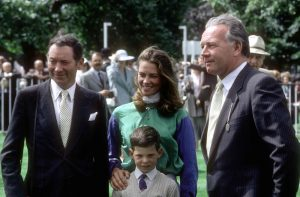 Barry with his young son Charlie, who now trains at Faringdon Place, and Robert Sangster and