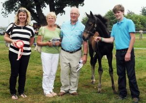 Anne and Peter Nelson with their daughter Sandra Windross, the champion Malinas colt and Lester Futter of Yorton Farm