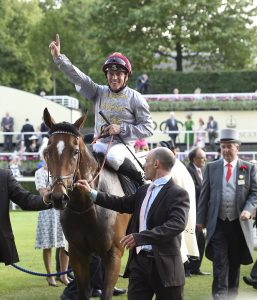 Gregory Benoist celebrates this year's Coronation Stakes victory on Qemah